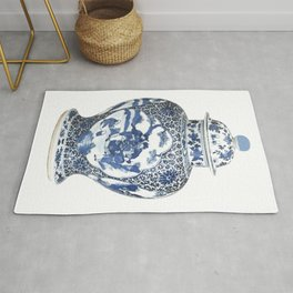 Blue & White Chinoiserie Porcelain Ginger Jar with Country Scene Rug