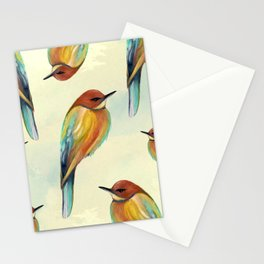 Watercolor Bird Pattern - Multicolor Feathers Stationery Cards