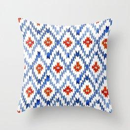 blue rhombus balinese ikat Throw Pillow