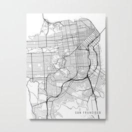 San Francisco Map, California USA - Black & White Portrait Metal Print