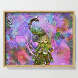 Peacock Watercolor Serving Tray