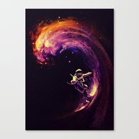 surfing Canvas Prints featuring Space Surfing by nicebleed