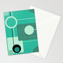 Orbs and Squares (aqua) Stationery Cards