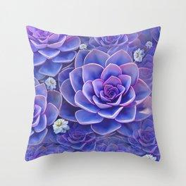 """Bouquet of pastel violet exotic succulents"" Throw Pillow"