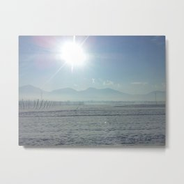the sun meets the snow Metal Print