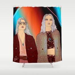 Social Jetlag - Mean Girls Stare, Nice Girls Smile - Digital Art Shower Curtain