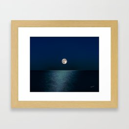 Moon Rising Over Lake Michigan Framed Art Print