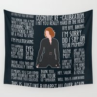 black widow Wall Tapestries featuring Black Widow by MacGuffin Designs