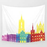 leon Wall Tapestries featuring Leon skyline pop by Paulrommer