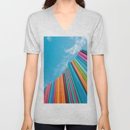Colorful Rainbow Pipes Against Blue Sky Unisex V-Neck