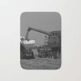 Black & White Rice Harvest Pencil Drawing Photo Badematte