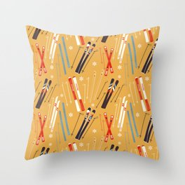 Bright Retro Skii Pattern Throw Pillow