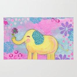 Elephant painting, Nursery Decor, Child's Room Decor, Yellow Elephant, Pink, Light Blue, Lavender Rug