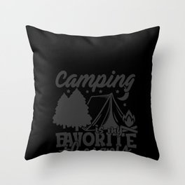 Humor Camping print, Camping Favorite Therapy, Camper Gift graphic Throw Pillow
