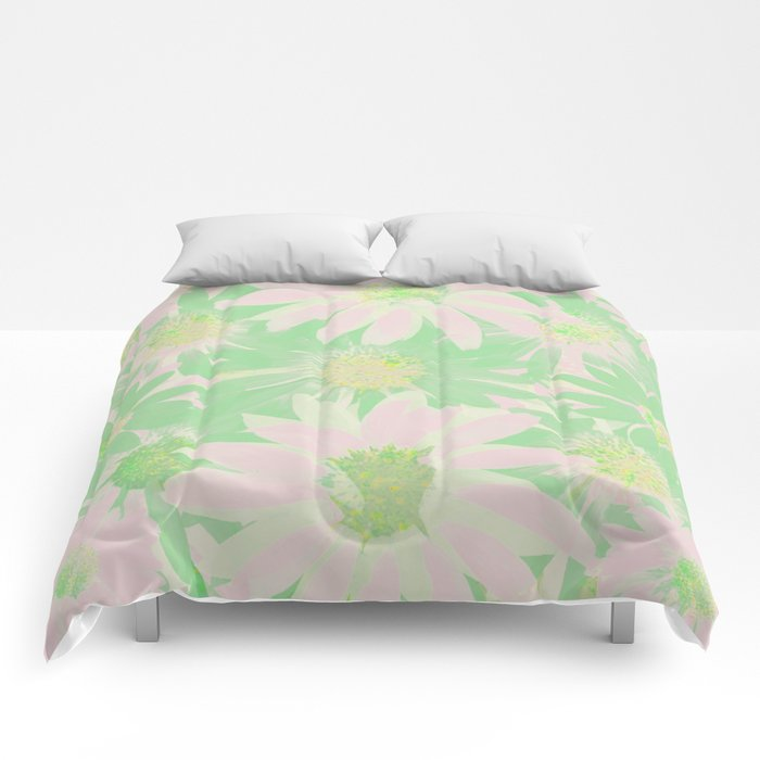 Soft Painterly Pink and Green Floral Abstract Comforters