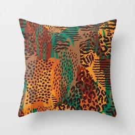 Orange green brown safari animal print Throw Pillow