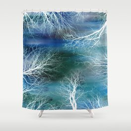 Abstract Midnight Trees Turquoise Teal Shower Curtain