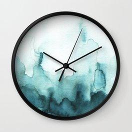 Soft teal abstract watercolor Wall Clock
