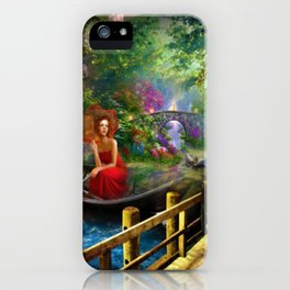 Looking on the other side of the lake surrealism digital art iPhone Case