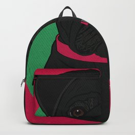 Icons of the Dog Park: Black Pug Design in Bold Colors for Pet Lovers Backpack