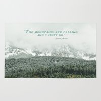 the mountains are calling Area & Throw Rugs featuring The Mountains are Calling by Annie Bailey