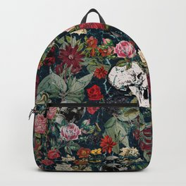 Distressed Floral with Skulls Pattern Backpack