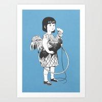 Rooster Girl Art Print