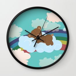 Teddy Bear and clouds Wall Clock