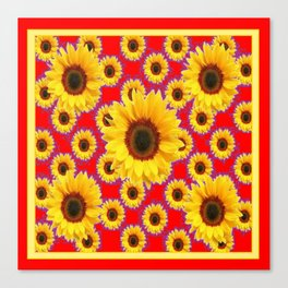 Red  & Violet Accents Color Sunflowers Pattern Art Canvas Print