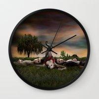 vampire diaries Wall Clocks featuring Vampire Diaries by Brigitta