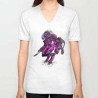 the neighbourhood V-neck T-shirts featuring Just Your Friendly Neighbourhood Cyborg Alien by Skylab