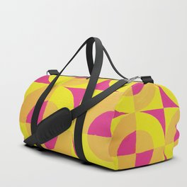Geometric abstract hand painted neon pink yellow pattern Duffle Bag