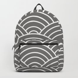 Gray Japanese Seigaiha Wave Backpack