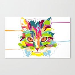 Cat Colorful Splash Canvas Print