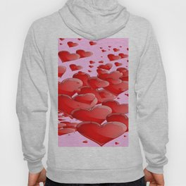 RED CANDY VALENTINE HEARTS IN PINK ART Hoody