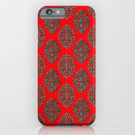 Baroque Birds Pattern - Red Teal iPhone Case