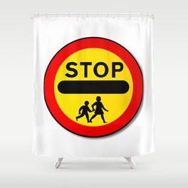 Stop Children Traffic Sign Shower Curtain