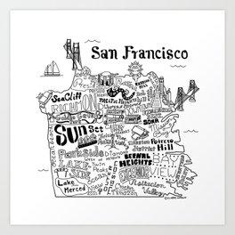 San Francisco Map Illustration Art Print