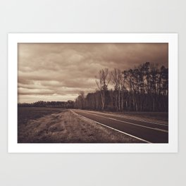 Stormy road Art Print