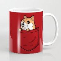 shiba inu Mugs featuring Pocket Shibe (Shiba Inu, Doge) by Tabner's