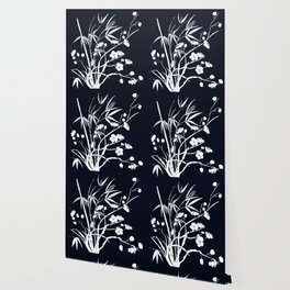 bamboo and plum flower white on black Wallpaper