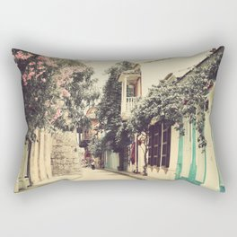 Just like a dream street, Cartagena (Retro and Vintage Urban, architecture photography) Rectangular Pillow