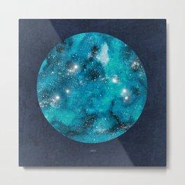 Aries zodiac constellation on navy background Metal Print