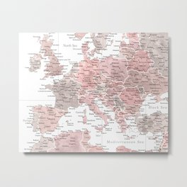 Map of Europe in dusty pink and grey watercolor Metal Print