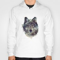 animals Hoodies featuring Wolf // Persevere  by Amy Hamilton