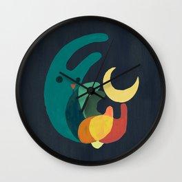 Rabbit and crescent moon Wall Clock
