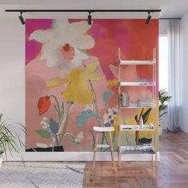 blooming abstract pink Wall Mural