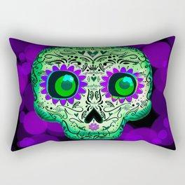 Green & Purple Whimsical Skull Rectangular Pillow