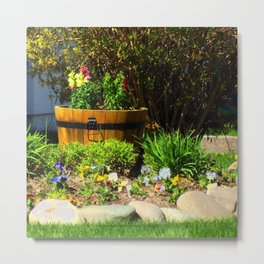 Old Barrel with Flowers - Jeronimo Rubio Photography 2016 Metal Print