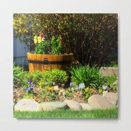 Old Barrel with Flowers - Jeronimo Rubio Photography 2016 Metal Print